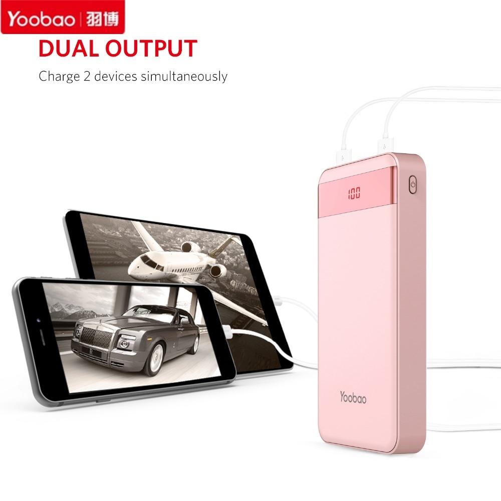 imágenes para Caliente Yoobao 20000mAh-S20-1 Mini Banco de la Energía Batería de Reserva Externa del USB de Doble Salida De Carga USB Para El Iphone Para Todos Los Teléfonos Móviles