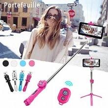 Portefeuille bluetooth selfie携帯電話ホルダースティック三脚スタンド用iphone 7プラス5 s 6 6 s se 8 xiaomi redmi 4x mi6一脚