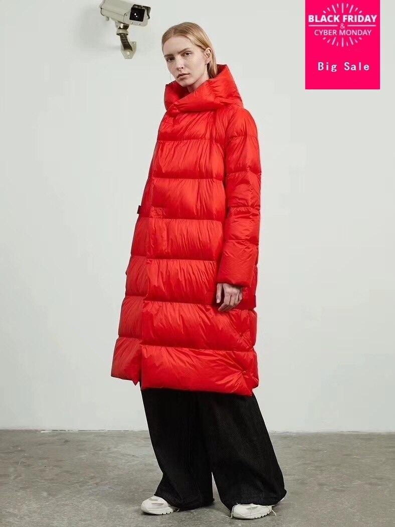 90% duvet de canard manteau marque de mode double boutonnage doudoune femmes hiver à capuche de luxe plus long chaud vers le bas manteau wq448 livraison directe