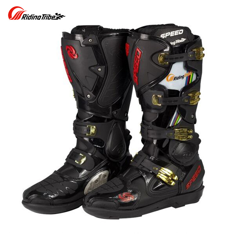 RIDING TRIBE Mens Professional SPEED Bikers Moto Racing Boots Motocross Leather Long Shoes ...