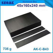 10pcs/lot black brushed aluminum housing cabinet electrical project case for pcb 45x240x160mm