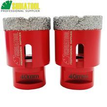 SHDIATOOL 2pcs M14 Thread Dia 40mm Vacuum Brazed Diamond Drilling Core Bits Professional Drillingbit Hole Saw Drill Bits