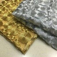 Vàng/bạc/đỏ sequins bead mảnh của gạc Ren thêu vải vòng tròn sóng thêu dress vải vải