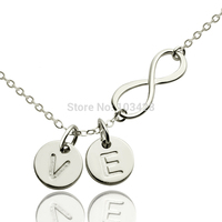 Personalized Infinity Necklace 925 Silver Infinity Name Necklace 2 Initials Necklace Monogram Forever Love Jewelry
