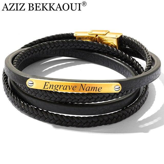 59a73fb9039f AZIZ BEKKAOUI Vintage grabado nombre pulsera de cuero negro para hombres  oro Color acero inoxidable pulseras