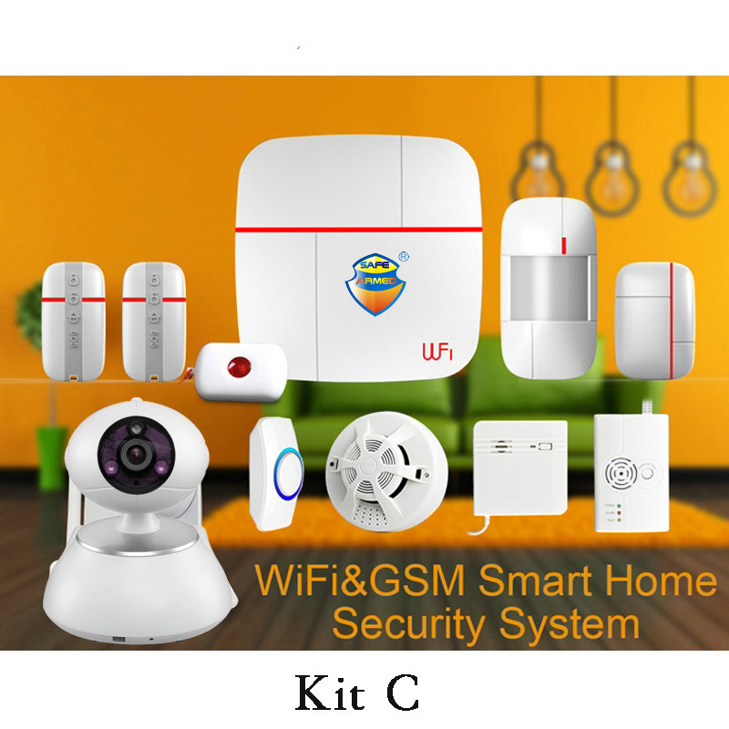 (1 set Kit C)Vcare Aalarm Intelligent Wifi&GSM Home Alarm System with Wireless Smoke Gas Water leak detector PIR Motion wireless smoke fire detector for wireless for touch keypad panel wifi gsm home security burglar voice alarm system