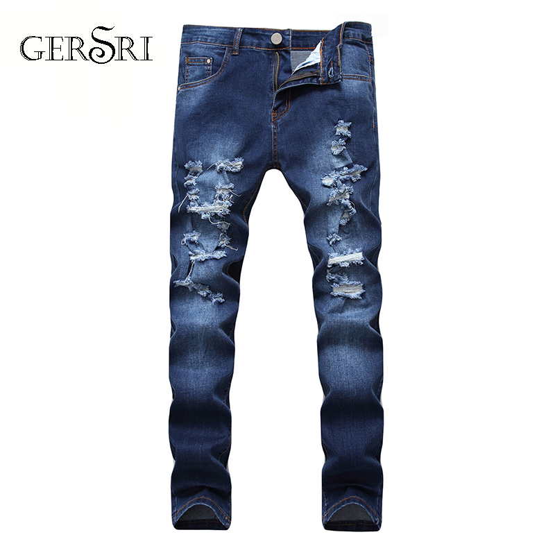 Gersri Fashion Style Luxury Quality Men's Slim Jeans Pants Mens Hole Pants Straight Elastic Destroyed Jeans For Men Plus Size