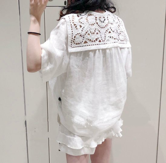 Women Shirt 0019 Summer New Fresh Embroidered White Short Sleeve Cotton Shirt-in Blouses & Shirts from Women's Clothing    2