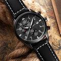 Ochstin chronograph casual assista men marca de luxo de quartzo relógio do esporte militar couro genuíno dos homens relógio de pulso relogio masculino