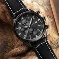 Ochstin cronógrafo reloj de los hombres de la marca de lujo de cuarzo ocasional militar deporte reloj para hombre de cuero genuino reloj de pulsera relogio masculino