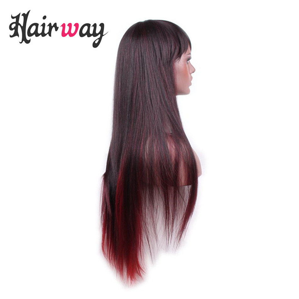 Hair Way 26inch Synthetic Machine Made Wig Straight Dark Brown And Bottom Red Mixed Color With Premium Anese Fiber In None Lace Wigs From