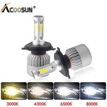 Светодиодный 4300K S2 H4 H7 H1 COB светодиодный лампы для передних фар H11 H13 12V 9005 9006 H3 9004 9007 9012 72 Вт 8000LM Автомобильный светодиодный Светильник 3000K 8000K 6500K