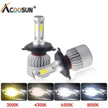 LED 4300K S2 H4 H7 H1 COB LED Headlight Bulbs H11 H13 12V 9005 9006 H3 9004 9007 9012 72W 8000LM Car LED lamp 3000K 8000K 6500K(China)