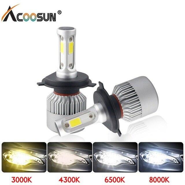 LED 4300 k S2 H4 H7 H1 COB LED פנס נורות H11 H13 12 v 9005 9006 H3 9004 9007 9012 72 w 8000LM רכב LED מנורת 3000 k 8000 k 6500 k