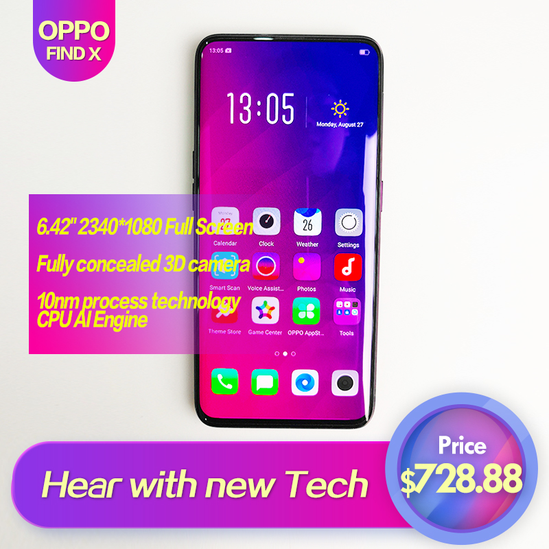 OPPO Find X Global ROM Full Screen 6.42inch Smart phone 3cameras 2340*1080 Octa Core Qualcomm SDM845 3730mAh 2340*1080 Face ID
