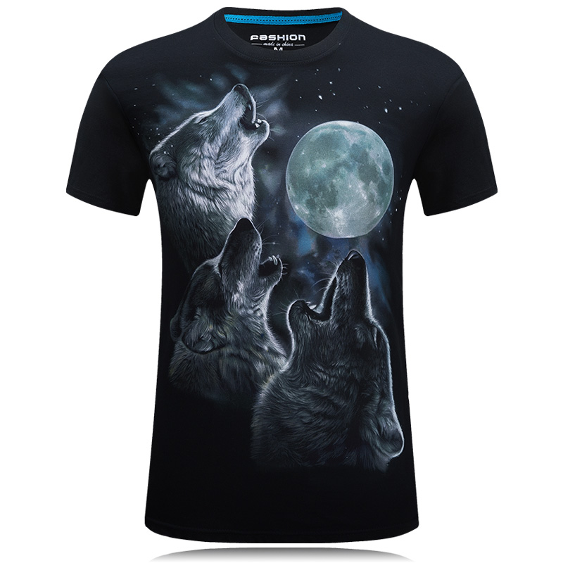 New 2017 3D Funny T shirt Lelaki Printed haiwan Brand Short Sleeve Costume Wolf Fitness tshirt homme Camisetas Cotton Tops Fashion