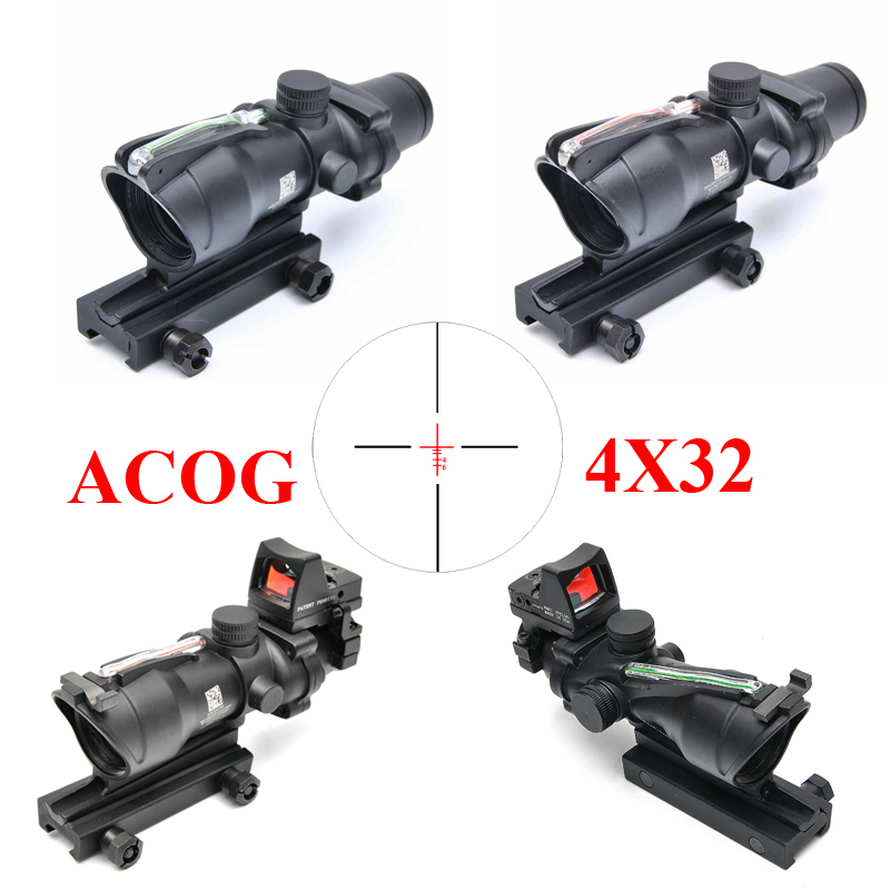 ACOG 4X32 Red Dot Sight Scope Tactical Hunting Scopes Real Green Red Fiber Riflescope Optics For Rifles trijicon acog 4x32 red dot sight scope tactical hunting scopes real green red fiber riflescope optics for rifles