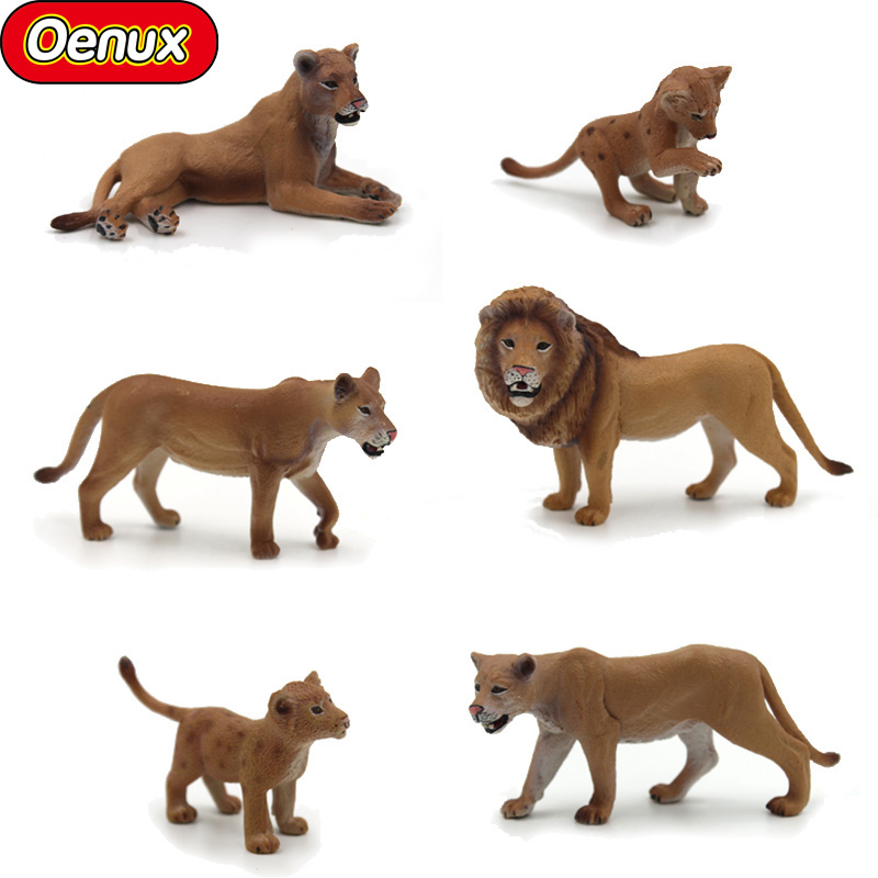 Oenux 6PCS Savage Wild Animals Lions Solid PVC Model Action Figure Toys Classic Remastered Animal Model Toy Kids Birthday Gift pvc figure wild animals toy leopard model panther tiger toys children birthday gift toys holiday gift ornaments 4pcs set