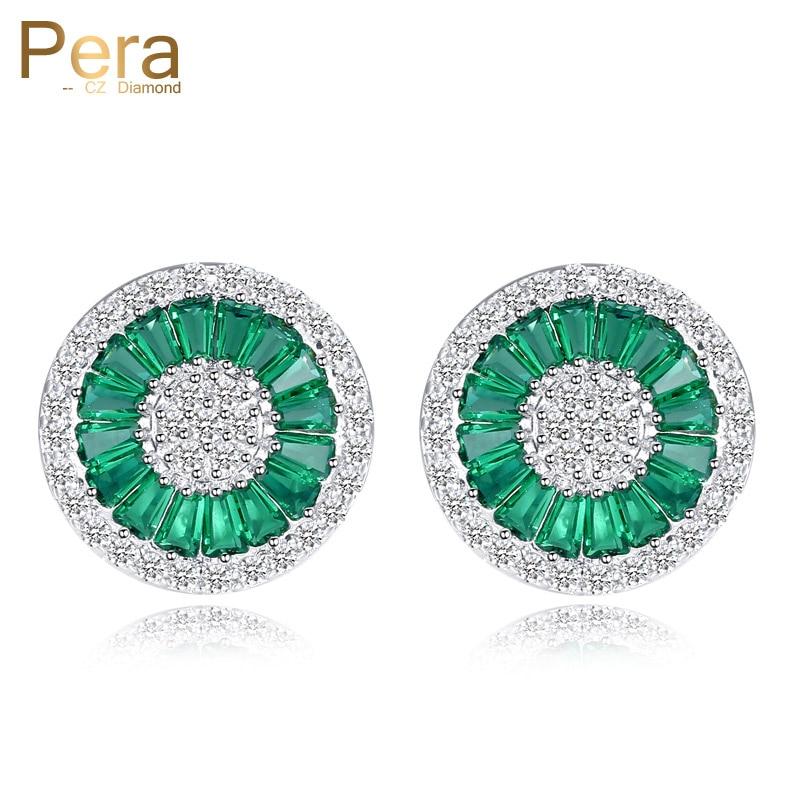 Pera Elegant Design Cubic Zirconia Pave Inställning Silverfärg Kvinnor Fest Stor Runda Gröna Crystal Stud Örhängen För Present E207