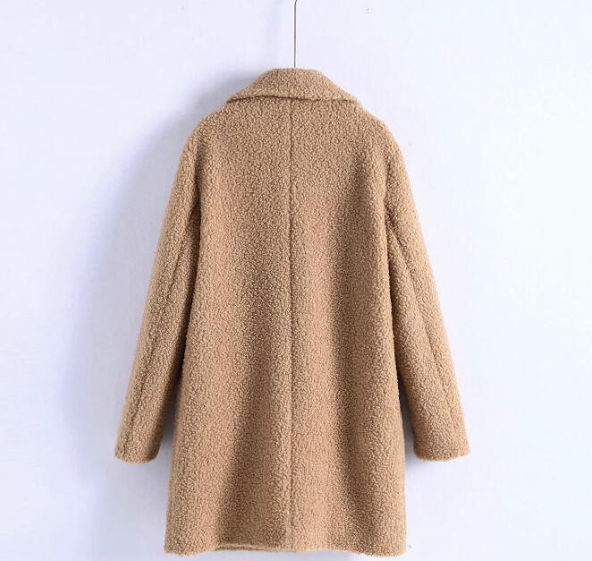 le dernier ddca5 c3bce US $49.68 |2019 Winter Women Double Breasted Woolen Coat Fluffy Teddy Bear  Coat Manteau Femme Hiver-in Wool & Blends from Women's Clothing on ...