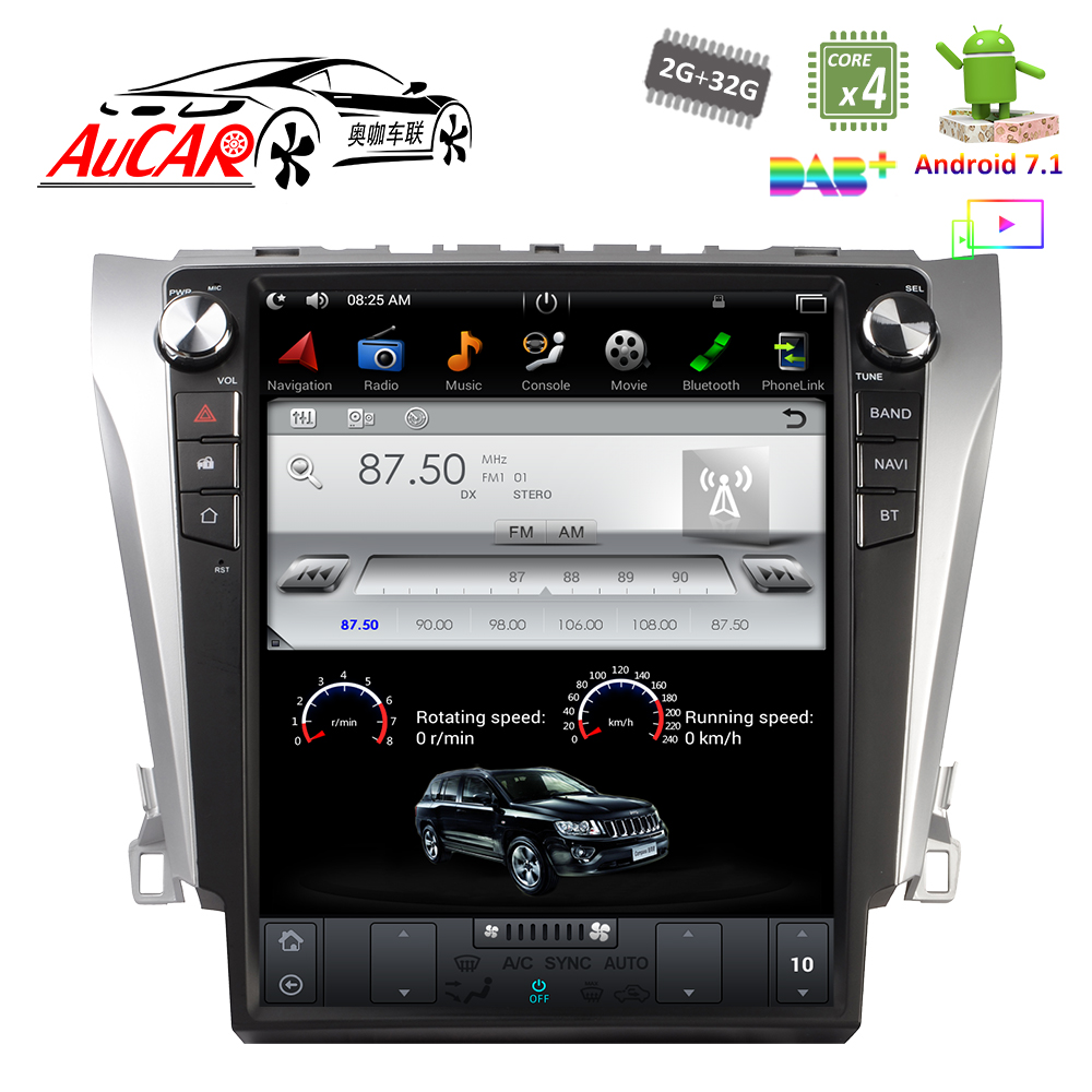 Android 7.1 12.1 Tesla Style pour Toyota Camry Voiture Système Multimédia 2015 Lecteur DVD Bluetooth Radio WIFI 4g vertical Stéréo IPS