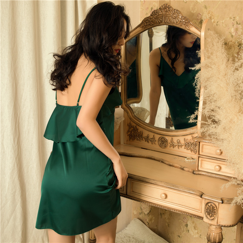 Lace Silk Solid Sleeveless Sexy Dress Women Night Club Lingerie Underwear Women's Sleep Lounge   Nightgowns     Sleepshirts   Nightwear