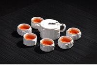 High Quality White Porcelain Tea Set 6pcs Teacup 1pcs Teapot Kung Fu Tea Wholesale Highest Sales