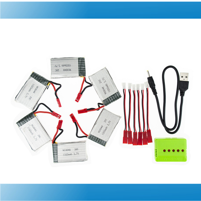 6pcs H11C lipo 3.7v 1000mah battery JST batteries and charger with plug for JJRC H11D H11WH HQ898 rc Quadcopter drone Part 5pcs jjrc h11d h11c hq898 quadcopter drone rc lipo battery 3 7v 1100mah and charger plug cable