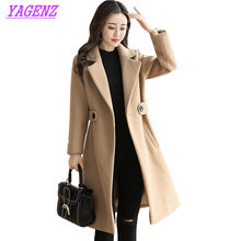 New Autumn Winter Woolen Jacket Women Korean Slim Long Wool Coat High quality young Women Plus size Camel color Overcoat 3XL 444(China)