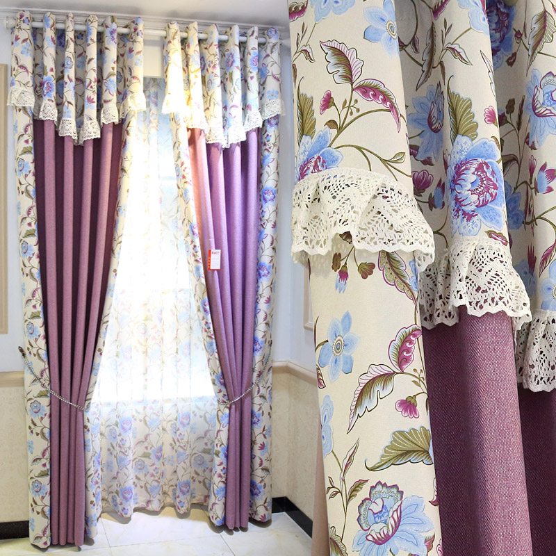 Free Processing As The Picture,Size:2.0*2.7m Romantic Purple Curtains For Living Room,FreeShipping. window valance