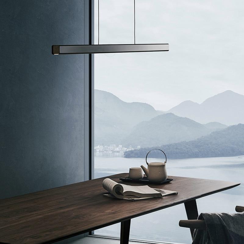 Modern Design Line Pendant Light For Dinning Room Minimalist LEDLight Bar Hanging Lamp Kitchen Island Table Suspension Luminaire