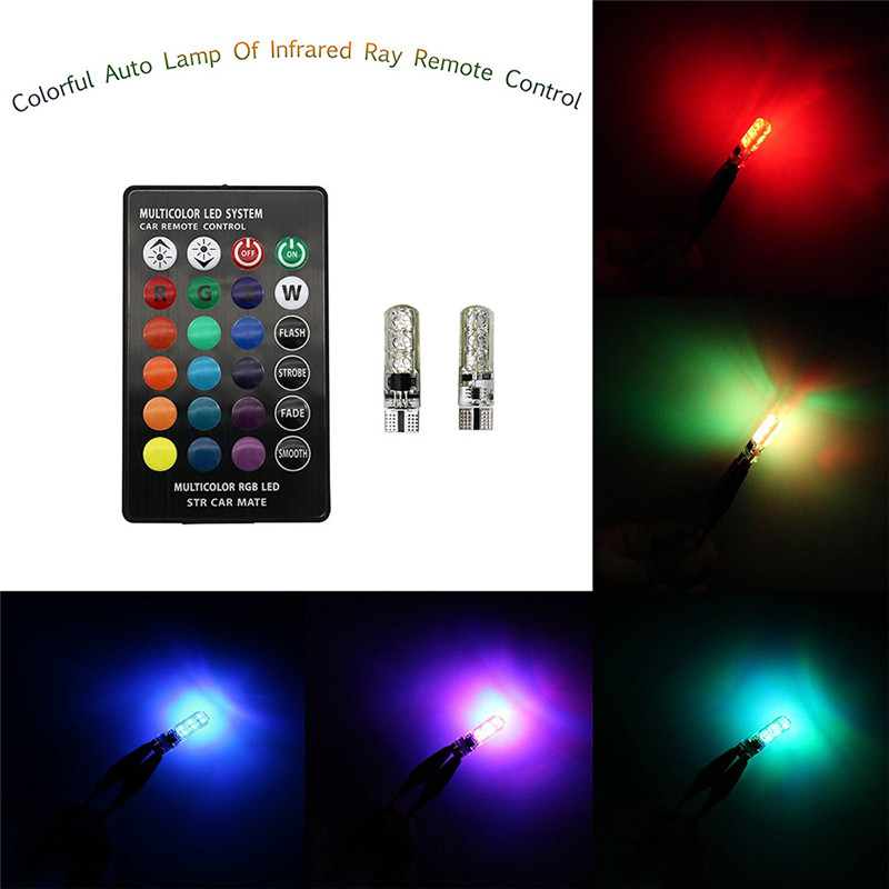2Pcs/Set Car Styling Wireless Remote Control RGB-5050 LED Neon Interior Light Lamp For Car Tail Side Parking Dome Hot Selling
