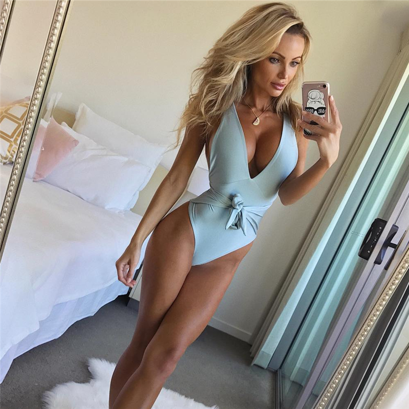 Ariel Sarah 2019 New Bandage One Piece Swimsuit Sexy Plus Size Swimwear Low Bust Swimming Suit Women Bathing Suit Bechwear Q034