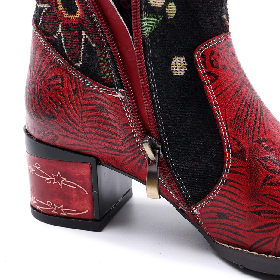 Fashion Patchwork Western Cowboy Boots Women Shoes Bohemian Genuine Leather Shoes Woman Vintage Side Zip Knee High Riding Boots (7)
