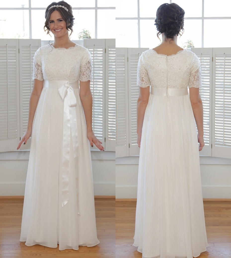 Us 15002 8 Offsimple A Line Floor Length Chiffon Modest Wedding Dresses With Short Sleeves Beaded Lace Informal Modest Lds Bridal Gowns In Wedding