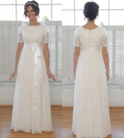 Simple A line Floor Length Chiffon Modest Wedding Dresses With Short Sleeves Beaded Lace Informal Modest LDS Bridal Gowns