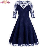 New Vintage Lace Rockabilly Dress Women Summer Retro Evening Party Dresses Female Clothes O Neck Swing