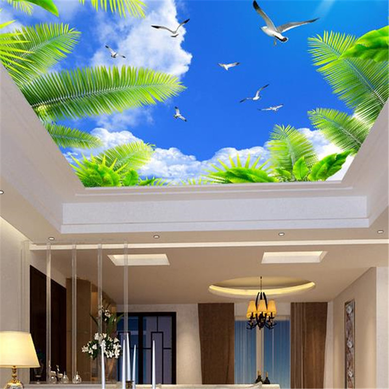 Custom Large 3D Ceiling Murals Modern 3D Wallpapers Blue Sky Coconut Tree Dove Wall Papers Home Decor Living Room Wall Murals blue earth cosmic sky zenith living room ceiling murals 3d wallpaper the living room bedroom study paper 3d wallpaper