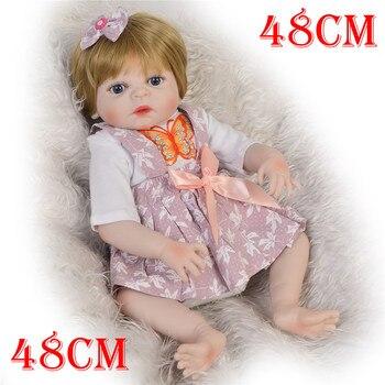 "Bebe bonecas reborn 19""48cm Inteiro silicone reborn baby  dolls pink  newborn baby girl princess toddler dolls toys child gift"