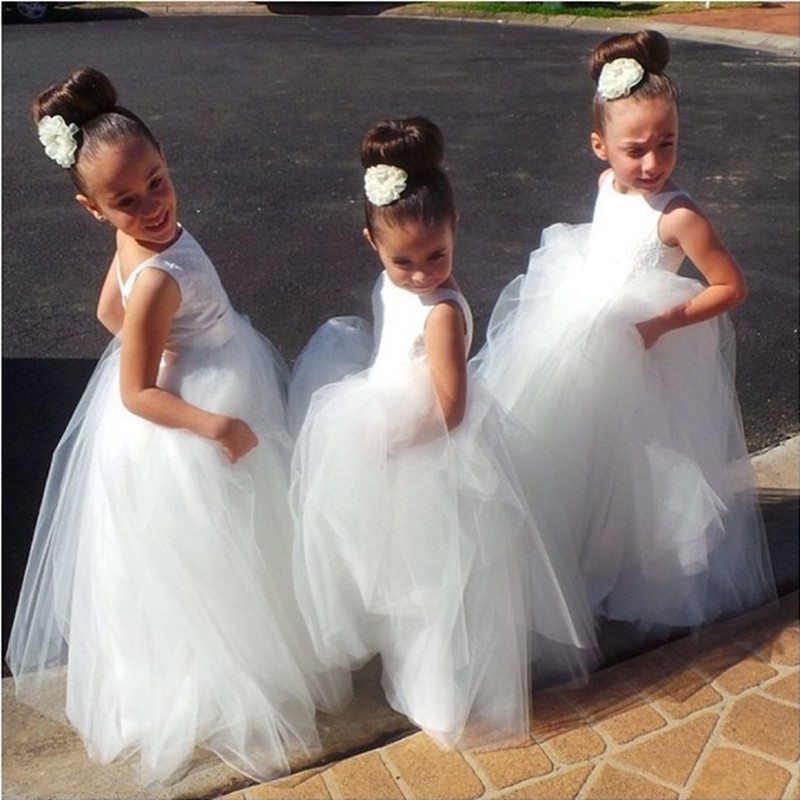 New Arrival 2016 hot Hand Made White Tulle Tutu Pretty   Flower     Girl     Dresses   Cheap Junior Bridesmaid   Dress   Baby   Girl   Infant   Dress
