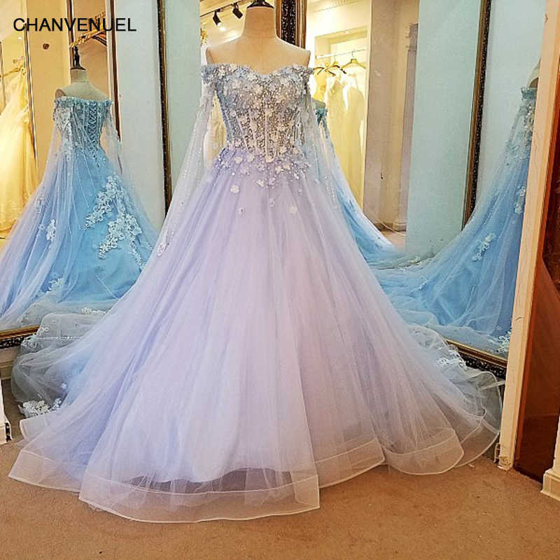 ef24b208e083d LS36796 Baby Blue Evening Dress with Long Cape 3D Flowers Lace Long Corset  Back Party Dress Robe De Soiree Real Photos