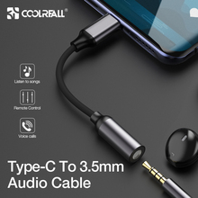 COOLREALL Type C 3.5 Jack Earphone USB C to 3.5mm AUX Headphone  Adapter cable for Huawei Mate 10 P20 Xiaomi Mi 6 6X 8 Mix 2s new type c 3 5 jack earphone cable usb c to 3 5mm aux headphone audio adapter for huawei mate 10 p20 pro xiaomi mi 6 8 6x mix 2s