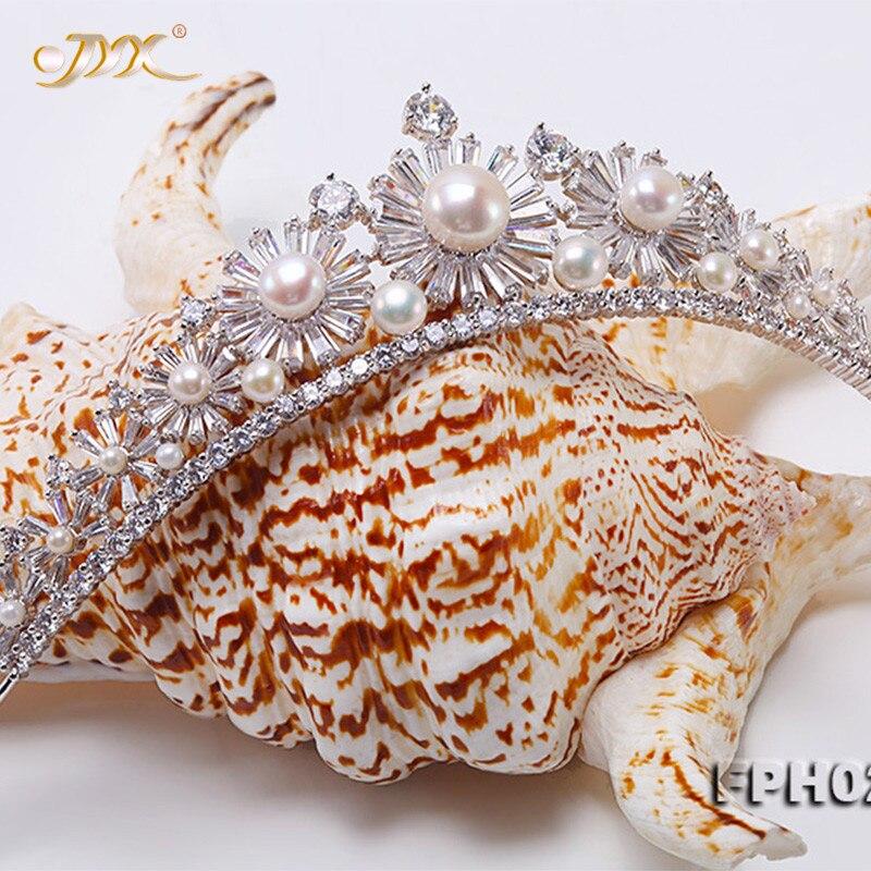 Tiara Pearl Round JYX with Crown Bridal-Hair Birthday Flatly White Freshwater