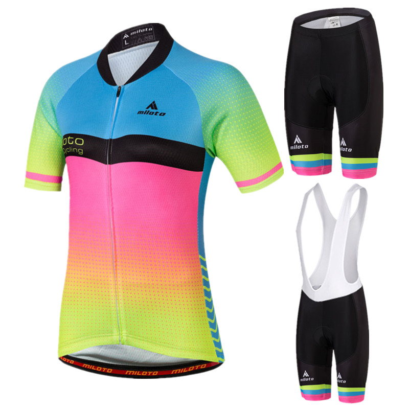 MILOTO Summer Womens Cycling Clothing Maillot Ciclismo Short Sleeve Bicycle Clothing Breathable Bike Jersey Cycling Jersey Sets