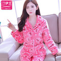 Spring Winter Anti Cold Keep Warm Women Thick Flannel Pijama Sets of Sleepcoat & Pants Female Thermal Coral Fleece Home Clothing
