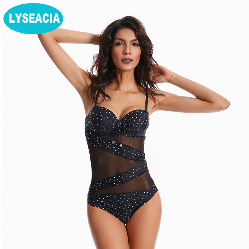 LYSEACIA Dots Monokini Plus Size Swimwear Women One Piece Swimsuit Push Up Bathing Suit Women's Mesh Swimsuits Female Beachwear