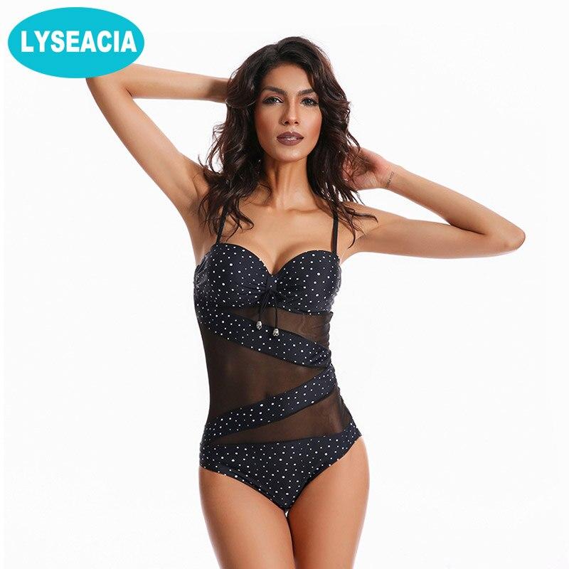 LYSEACIA Dots Monokini Plus Size Swimwear Delle Donne Costume Intero Push Up Costume Da Bagno delle Donne Della Maglia Costumi Da Bagno Beachwear Femminile