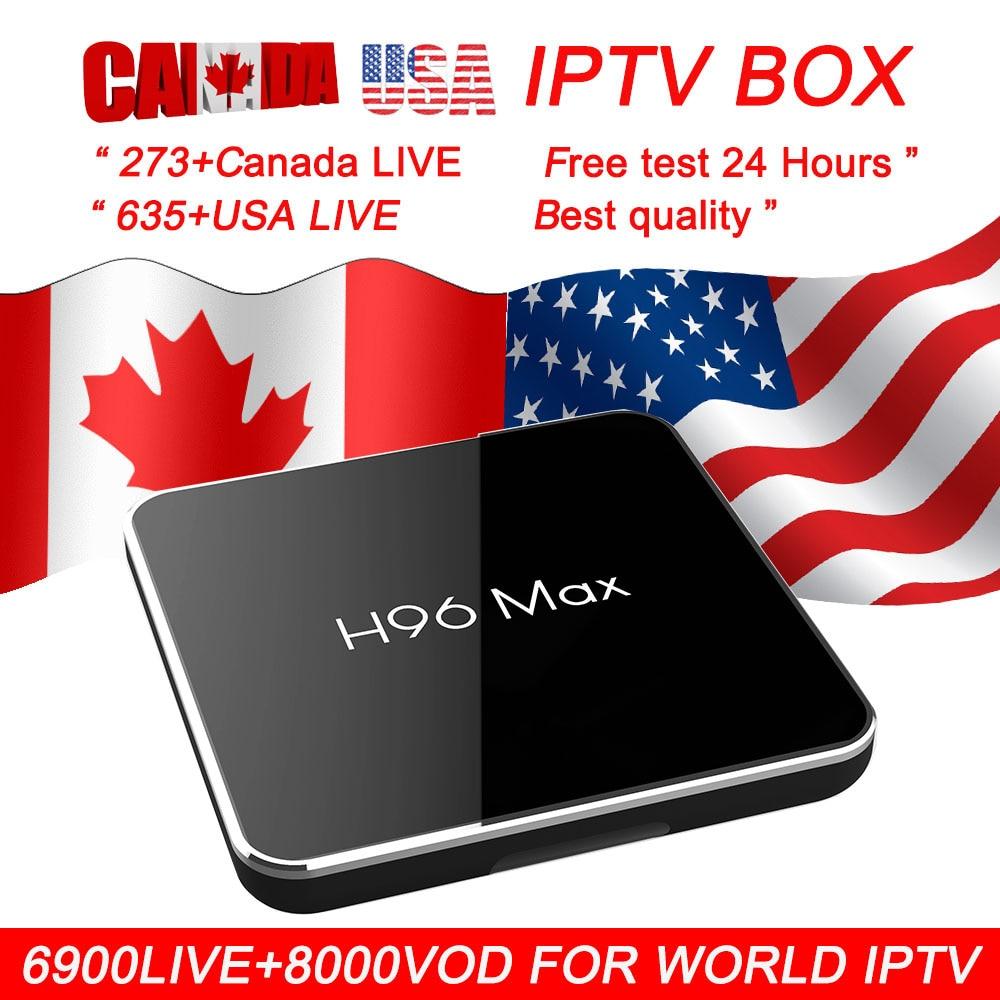 H96 max x2 usa iptv android 8 1 tv box 8000 Livetv vod canada france arabic