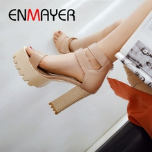 ENMAYER 2019 New Arrival  Gladiator Woman Sandals Summer Super High Platform Party Solid Womens Size 34-42 LY1967