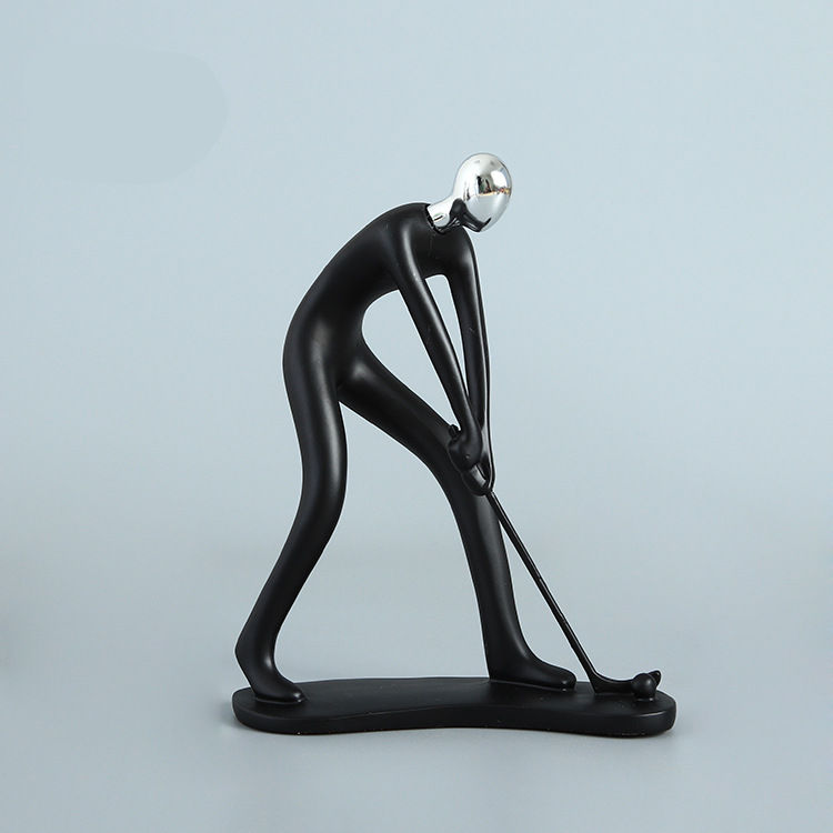 [Crafts] Modern Abstract Sculpture Sports Golf player Golfer figure model Statue Art Carving Resin Figurine Home Decorations